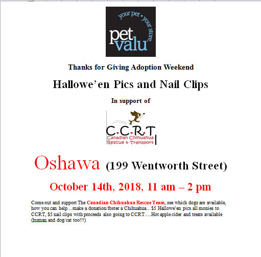 Thanks for Giving Adoption Weekend  : Oshawa October 14