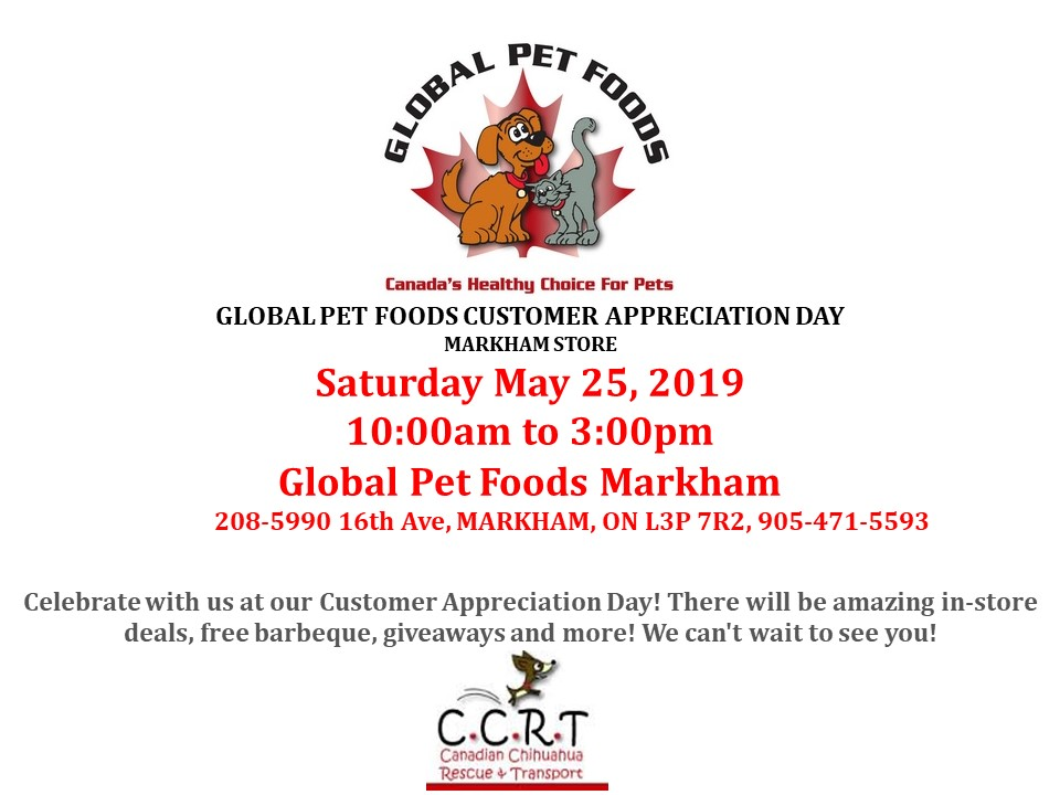 May 25, 2019 Global Pets, Markham  10:00am to 3:00pm