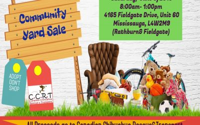 CCRT Community Yard Sale –  June 8, 2019 – Mississauga, ON
