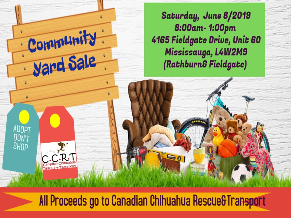 CCRT Community Yard Sale –  June 8, 2019 – Mississauga, ON